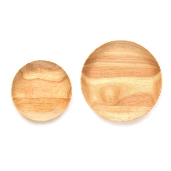 Set 2 rubber wood plates