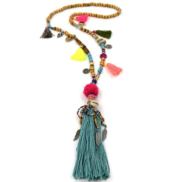 Wooden tassel necklace