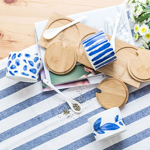 Blue pattern ceramic spice jar sets