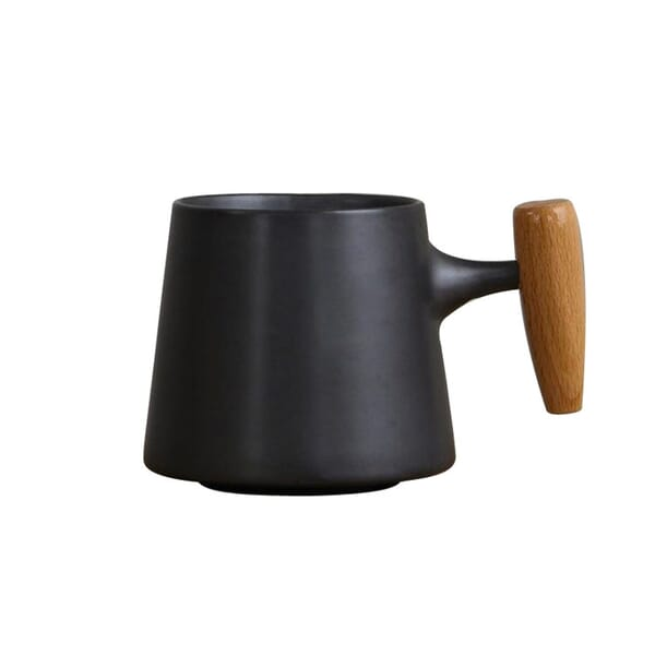 Ceramic cup with wooden handle