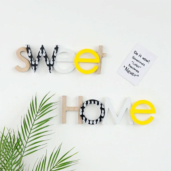 Wooden words wall decor