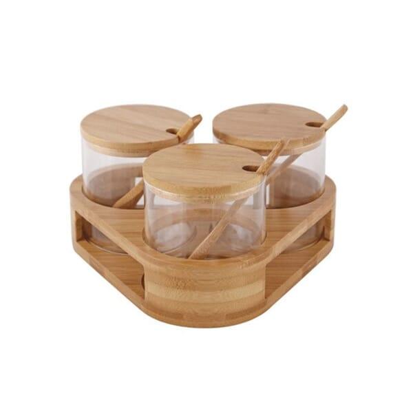 Glass & rippled glass spice jar sets