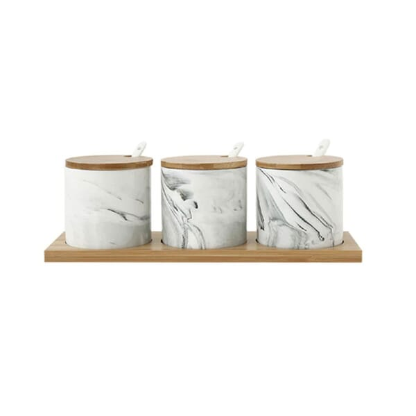 White marble ceramic spice jar sets