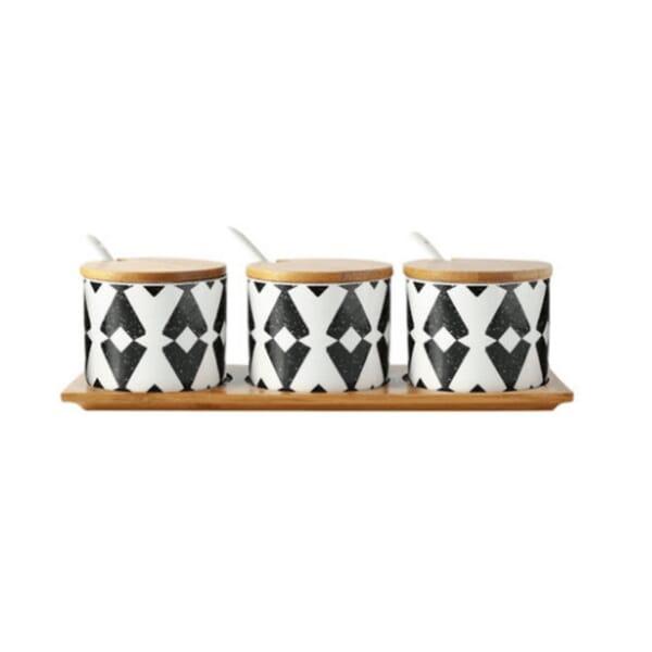 Pattern ceramic spice jar sets